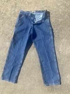LEE Carpenter Dungarees Men#x27;s 34x32 Jeans Relaxed Workwear Blue Denim Utility $22.99