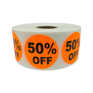 10 Rolls Of 1000 1 5 Round Orange 50 Off Thank You Retail Labels Stickers