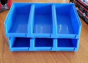 Lot Of 2 3 bin Blue Plastic Storage Bin Container For Small Parts Stackable