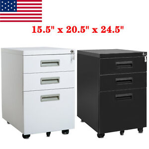 3 Drawer Mobile Vertical File Cabinet Metal Lockable Filing Cabinets With Handle