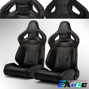 Red Stitching W Carbon Fiber Leather C Series Reclinable Pvc Sport Racing Seats