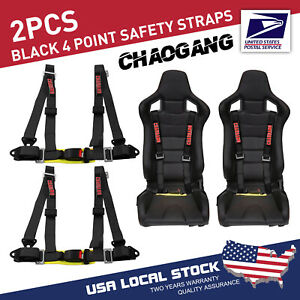 Chaogang 4 Point Snap On 2 With Camlock Racing Seat Belt Harness Black Set Of 2