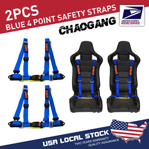 Chaogang 4 Point Snap On 2 With Camlock Racing Seat Belt Harness Blue Set Of 2