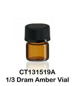100 Amber Glass Vials W Screw Caps 15 X 19 Mm 1 3 Dram 1 24 Ounce 1 25 Ml