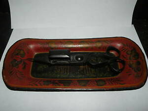 Antique Toleware Tole Candle Snuffer Tray Red Gold