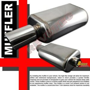 Universal 4 5 Tip 2 5 Inlet Oval Can Muffler Exhaust T304 Stainless Steel