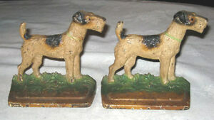 Antique Hubley Dog Bookends Cast Iron Terrier Art Statue Library Home Book Ends