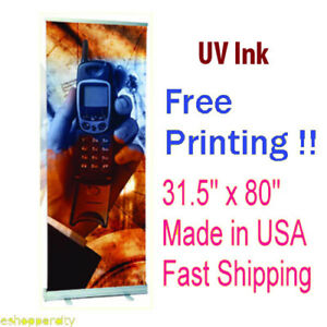 Retractable Roll Up Banner 31 5 X 80 Stand Display Free Printing Trade Show