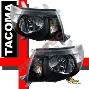 Black Headlights Lamps 1 Pair Rh Lh For 05 06 07 08 09 10 11 Toyota Tacoma