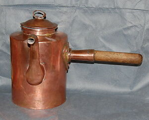 Antique Copper Heart Handle Side Pour Coffee Pot 19th Century