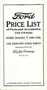 1909 19 20 21 22 23 25 26 Ford Model T Price List Parts