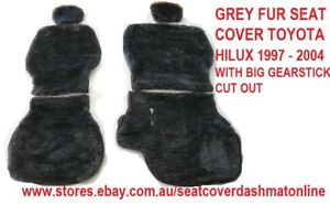 Grey Fur Seat Cover sheepskin Look Fit Toyota Hilux Cab 1997 2004