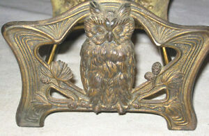 Antique Cast Iron Wise Owl Tree Bookrack Bookends Book Holder Paper Tool Rack