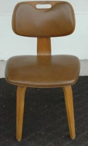 Rare Mid Century Thonet Plywood Chair W Vinyl Seat Back Eames Era