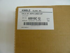 New Kimble Chase 60910c 12 Sample Vials 1 2 Dram Capacity Pack Of 144 Vials