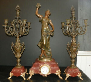 3 Pc Spelter Clock Set W Woman Holding Grapes 16008