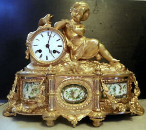 Bronze Clock W Young Child W Butterfly And Painting On Marble 16044