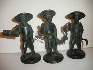 3 Antique Chinese Bronze Men Man Farmers Man Figures Sculptures