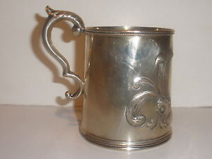 Antique 19thc 1840 50 Mulford Wendell Albany Coin Silver Repousse Flowers Mug