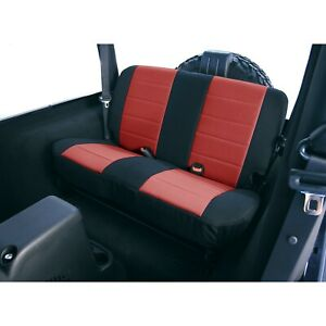Neoprene Red Rear Seat Covers For Jeep Wrangler Tj 97 02 13261 53 Rugged Ridge