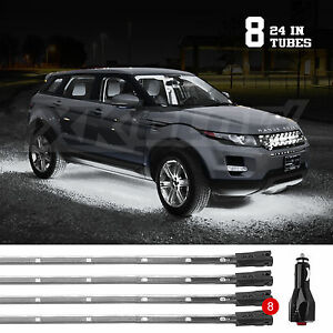 White 8pcs Led Undercar Truck Glow Underbody Waterproof System Neon Lights Kit