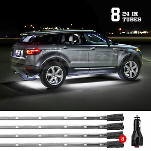 White Bright Led Under Car Truck Suv Glow Neon Strip Lights Kit 3 Pattern 8tube
