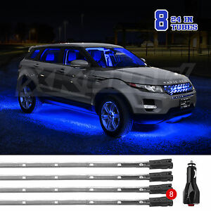 Blue 8pcs 24in Tubes Led Under Car Glow Underbody System Neon Lights Kit