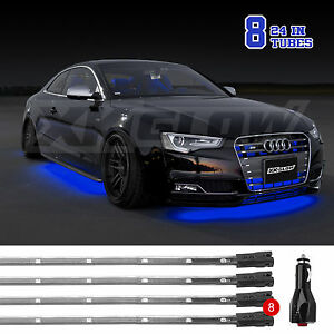 Car truck boat 8pc Blue Led Underbody Neon Light Kit With Solid Strobe Breath