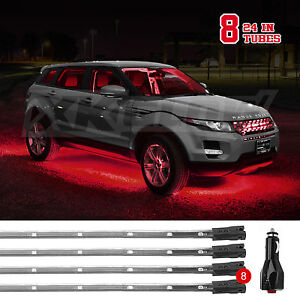 8pcs Led Underglow Underbody System Neon Kit 2 3ft And 2 4ft Sections Red