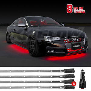 Car truck Led Under Glow Neon Strip Lights Kit 3 Pattern 8pc 24in Tube Red