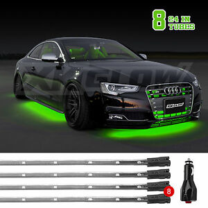 Green Us Seller 8pc 24in Tube Led Neon Underglow Accent Kit Green 3 Mode