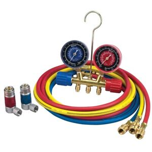A C R 134a Manifold Gauge Set With 72 Hose And Couplers Rob45111 Brand New