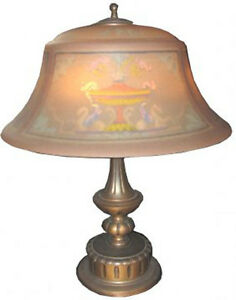 Antique Signed Pairpoint Table Lamp Reverse Painted Pegasus Floral Shade 9008