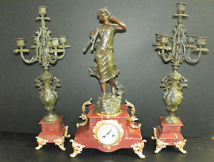 3pc Spelter And Marble Clock Set W Woman Holding Instrument 16037