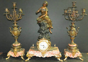 3pc Spelter And Marble Clock Set W Woman Feeding Birds 16017