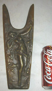 Antique Art Nouveau Bronze Nude Deco Lady Sculpture Statue Shoe Boot Jack Plaque