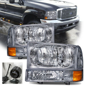 Fits 1999 2004 Ford F250 F350 F450 Superduty Excursion Chrome Halogen Headlights