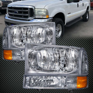 Headlights Fit 1999 2004 Ford F250 F350 Superduty Ford Excursion W Xenon Set