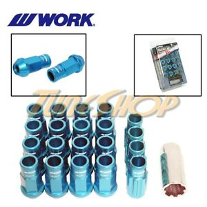 Work Racing Rs R Extended Forged Aluminum Lock Lug Nuts 12x1 5 1 5 Blue Open H