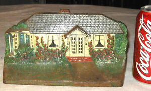 Antique C J O Judd Mfg Colorful Cast Iron House Home Cottage Flower Doorstop
