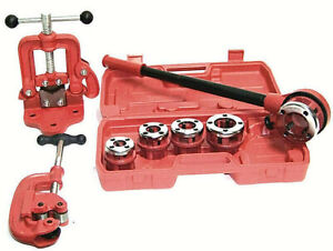 Ratchet Pipe Threader With 5 Dies And Pipe Cutter 2 Clamp On Pipe Vice 2