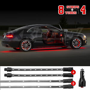 Red Led Undercar interior Accent Neon Light Kit W 3 Mode Memory 12pc Tube