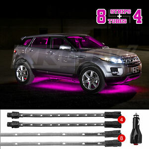 Pink 12pc Led Car Interior Low Profile Under Body Light Slim Tube ez Mount 3mode