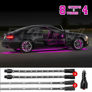 New Led Neon Accent Lighting Kit For Car Truck Underglow Interior 3 Mode Pink