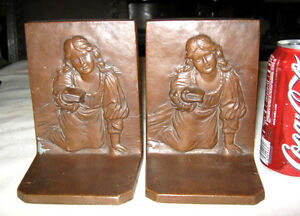 Antique Ronson Girl Child Book Art Nouveau Statue Sculpture Bronze Bookends Deco