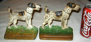 Antique 294 Hubley Airedale Fox Terrier Cast Iron Dog Art Statue Bookends Toy