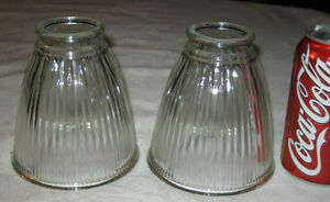 Two Antique Industrial Ribbed Art Glass Sconce Lamp Light Bulb Home Patio Shade