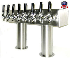 Stainless Steel Draft Beer Tower Made In Usa 8 Faucets Air Cooled Ptb 8ss