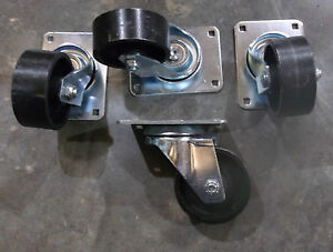 Cast Iron Plate Casters Swivel 3 Wheel set Of 4 ec6 2