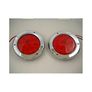 Red 10 Led 4 Round Trailer Truck Stop Turn Brake Tail Light Kits Chrome Bezel